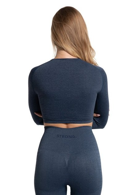BEZSZWOWY CROP TOP BREEZE. NAVY BLUE JEANS