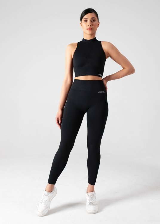 BEZSZWOWY CROP TOP FREEDOM RIBBED. BLACK