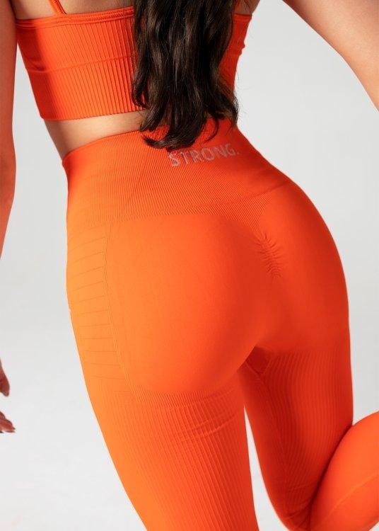 Legginsy Bezszwowe Double Push Up Revolution. Neon Orange.
